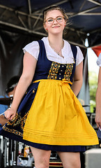 Swaying To The Music (wyojones) Tags: texas tomball tomballgermanheritagefestival costume attire festival german people girl glasses woman youngwoman cute beautiful brunette beauty band dance pretty lovely smile blueeyes