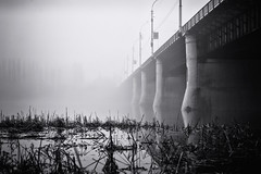 The bridge to nowhere (Unicorn.mod) Tags: 2016 monochrome bw blackandwhite bridge gog river outdoor landsape urbanlandscape cityscape canoneos6d canonef24105mmf4lisusm