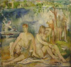 Július Jakoby, Bathing by the Hornád River, 1937 (DeBeer) Tags: bratislavacitygallery bratislava slovakia art painting slovakart slovakpainting júliusjakoby bathing river 1937 1930s