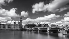 Big Ben and Westminster Bridge (simoncrabtree110) Tags: london bridge westminster big ben bigben parliment polititian water long exposure stopper black white blackandwhite bw capital england cloud lightroom hitech filters nikon d7100 clock time thames remembrance uk sigma 1020mm beginner