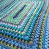 Color detail (crochetbug13) Tags: crochet crocheted crocheting acrylicyarn grannyrectangle crochetrectangle crochetblanket crochetafghan blues greens