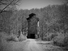 coal silo at abandoned WV mine (photography_isn't_terrorism) Tags: coal silo coalsilo coalmine abandoned decay decayed neglected wv westvirginia bw rural