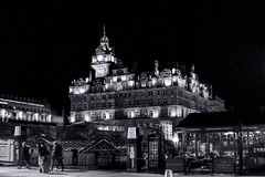The Balmoral (Matthias Harbers) Tags: thebalmoral hotel victorianlandmark night light evening edinburgh waverley railwaystation edinburghwaverleyrailwaystation railway station unitedkingdom uk scotland white black dxo kingdom photoshop topaz labs traveling outdoor canon powershot g3x bw people travel blackandwhite
