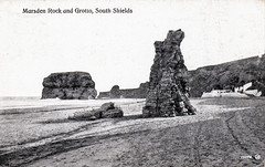 Marsden Rock and Grotto (SouthShieldsPostcards) Tags: marsden grotto south shields postcard pub sea sand rock stack beach monochrome old photograph photo bay