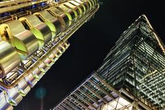 Follow The Money (Douguerreotype) Tags: leadenhallbuilding cheesegrater dark london uk british buildings lloyds lights architecture city britain night gb urban england