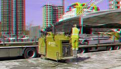 herinrichting metrostation Blaak Rotterdam 3D (wim hoppenbrouwers) Tags: herinrichting metrostation blaak rotterdam 3d anaglyph stereo redcyan ret metrotunneldak metro