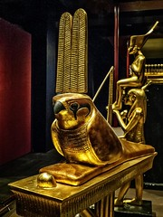 Standard of Sopdu the falcon god who watched over Egypt's Eastern Desert New Kingdom 18th Dynasty Egypt 1332-1323 BCE (mharrsch) Tags: figure figurine sculpture statue pharaoh king ruler tutankhamun burial tomb funerary 18thdynasty newkingdom egypt 14thcenturybce ancient discoveryofkingtut exhibit newyork mharrsch premierexhibits gold sopdu falcon standard