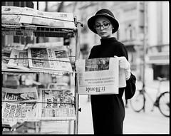 Audrey Hepburn newstand (Radoslaw Pujan) Tags: film analog pentax photoshoot hat audrey hepburn newsstand bruxelles brussels ixelles 6x7