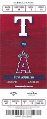 April 30, 2017, Texas Rangers vs Anaheim Angels, Globe Life Park, Arlington, Texas - Ticket Stub (Joe Merchant) Tags: april 30 2017 texas rangers vs anaheim angels globe life park arlington ticket stub