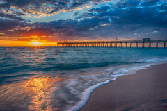 Venice Fishing Pier (DonMiller_ToGo) Tags: beachlife sunsetmadness sunsets pier water goldenhour seascapes hdr sharkys clouds 3xp outdoors sunsetsniper sky hdrphotography beachphotography florida