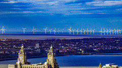 wirral and wind farm (Phil Longfoot Photography) Tags: rivermersey liverbuilding river sea ocean windfarm blue skies