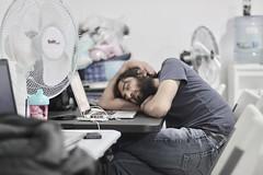La irresistible siesta. (Gamaliel E. M.) Tags: sleeping nap office beard