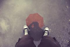 Puddle Mirror (CoolMcFlash) Tags: selfportrait wet water person man reflection puddle rain rainy canon eos 60d silhouette pov perspective personal legs shoes sneakers selbstportrait nas wasser mann spiegelung pfütze regen regenschirm regnerisch kontur perspektive beine schuhe fotografie photography tamron b008 18270 umbrella
