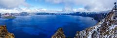 Crater Lake Snowy Panorama (JasonianPhotography) Tags: seasons craterlake garfieldpeaktrail oregon winter phantomship wizardisland panorama snow craterlakenationalpark unitedstates us