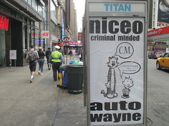 Niceo Wayne Auto Graffiti Art Calvin and Hobbs Comic Strip 4489 (Brechtbug) Tags: niceo wayne auto graffiti calvin hobbs newspaper comic strip characters art posters sidewalk phone booth 7th avenue near 34th street midtown nyc 2017 04172017 new york city profile design films movie funnies sunday papers bill watterson cartoonist tigre kid stuffed tiger st ave streets niceos criminal minded you been blinded guerilla ads cover manhattan culture jamming bombing since 1977 mass appeal reports same funny cartoon news paper cm