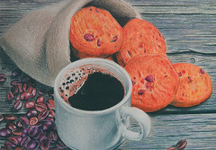 UA-1530809 (selphie10) Tags: postcard postcrossing official officialpostcard coffee coffeebeans mug biscuits biscuit illustration illustrations galushkicard goodmorning drawing drinking drink foodanddrink ukraine sweet sweets