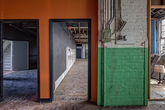 Colorful Portals (billmclaugh) Tags: theshoefactoryantiquemall lebanon ohio shoes manufacturing brick windows industry industrial warehouse reznor spaceheaters antiques canon 5dmiii 24mmtse tiltshift highdynamicrange hdr adobe photoshop lightroom photomatix on1