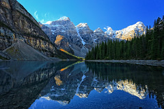 Sunny Moraine Lake (louelke - recovering from surgery) Tags: morainelake banffnationalpark canada mountains glaciers reflections