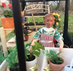 13. Peace (Foxy Belle) Tags: dollhouse greenhouse plant spring doll caco vintage outside 112 miniature terrarium plants flowers tools work