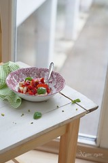 Strawberry-banana salad with basil (nyam-nyam1) Tags: salad strawberry banana basil