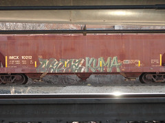 nymz kuma (derrrff!!!!!!) Tags: train graffiti painted spray graff freight rolling fr8 benched benching