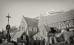 The Cathedral.... (Ankit_) Tags: christchurch history monument architecture earthquake cathedral nz hdr squaremonochromeblackandwhite