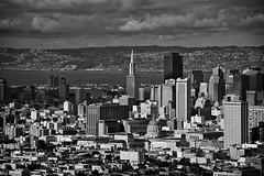Downtown San Francisco (Allard Schager) Tags: sanfrancisco california blackandwhite bw usa monochrome skyline architecture america berkeley spring nikon downtown treasureisland skyscrapers pyramid zwartwit unitedstatesofamerica landmarks clarity landmark icon twinpeaks bayarea april sanfranciscobay transamerica amerika lente iconic harsh bold gettyimages californie zw 2013 d700 nikond700 transamericana nikonfx allardone allard1 duohardstrak nikkor70200mmf28vrii allardschagercom