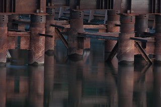 ... blue hour steel at a bridge-being-moved worksite [Try L]