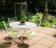 Veranda with vintage patio set (Karen @ Wall Flower Studio) Tags: ontario canada june vintage garden lawn patio veranda arbor 1970s minden haliburton gardenpath zone4 canadianshield peagravel patioset algonquinhighlands karensloan wallflowerstudio