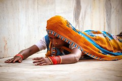 Woman praying in Orchha temple, Orchha, India, 2012