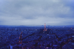 Paris (Danielle Pearce) Tags: above sunset sky paris tower night canon landscape dawn pretty tour cloudy mark eiffel ii 5d