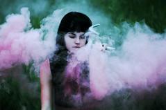 (emmakatka) Tags: pink portrait black girl hair skull smoke deer bombs antler