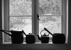 waiting for your return (Pea Jay How) Tags: light blackandwhite bw window kitchen garden outside view path cottage inside pan pans