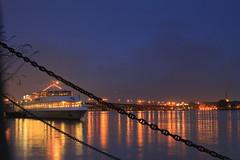 Stille / Silence (buidl-lemmy) Tags: bridge water colors rain deutschland evening abend boat wasser brcke rhine rhein mainz schiff regen farben langzeitbelichtung theodorheussbrcke longtermexposure