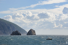 Adalary Rocks  Two Twin-Cliffs Near Gurzuf (Guide, driver and photographer in Moscow, Russia) Tags: mountain clouds ukraine crimea blacksea gurzuf audag adalary