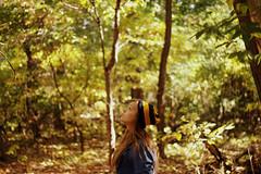 October (Brooke.Butler) Tags: autumn selfportrait fall girl leaves forest hair october bokeh 10 exploring teen beanie month brookstar126