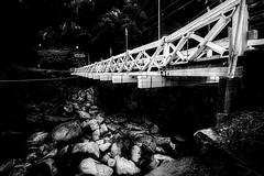Mosquito Road Bridge (stephencurtin) Tags: california road county wood bridge blackandwhite usa rocks suspension el eldorado historic mosquito photograph dorado thechallengefactory stephencurtin