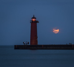 The Supermoon and Lighthouse (olsonj) Tags: lighthouse water evening lakemichigan bluehour kenosha supermoon