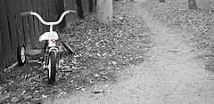 Disposable Society (Cindy's Here) Tags: bw canada abandoned broken canon winnipeg tricycle manitoba trike recycle leadingline picmionkey
