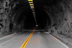 Yosemite - Wawona Tunnel 2 - 0206 B&W SCE (www.karltonhuberphotography.com) Tags: california blackandwhite famous tunnel yosemite handheld yosemitenationalpark yosemitevalley tunnelview leadinglines wawonatunnel 2013 nikkor55200mm nikond7000 karltonhuber selectivecoloredit