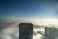 Canary Wharf - Fog over London 4 (Owlwithoutfeathers) Tags: city sky cold color building london tower window weather fog clouds sunrise lens prime flying high nikon december day view space bank east elements nik 28 20mm nikkor canarywharf hsbc height ais barclays lightroom canadasquare sckyscraper d700