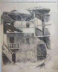Eugenio Prati Palazzo Marzani corte interna a Villa Lagarina 1894 carboncino su carta