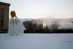 Steamy sunset, Nelson Atkins Gallery, KCMO (aerojb) Tags: snow art statue artgallery kansascity badminton nelsonatkins shuttlecock kcmo