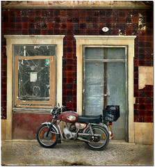 Do You Ride A Motorbike? (pixel_unikat) Tags: street door brown abandoned portugal window facade dirty motorbike seven textured thankstoskeletalmessfortexture