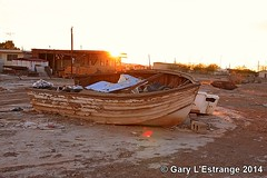 Sunset Cruise Bombay Beach Salton Sea (garylestrangephotography) Tags: california ca cruise sunset sea usa beach trash boat palmsprings bombay rubbish salton garylestrangephotography