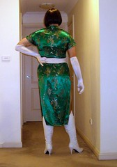 Jaded (5) (Toni Furre) Tags: red white green asian belt long dress boots coat chinese gloves oriental satin cheongsam