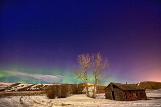 Aurora at the ghost town