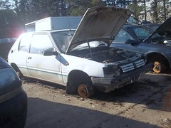 Another one bites the dust..... (occama) Tags: uk car cornwall trio scrap peugeot 205