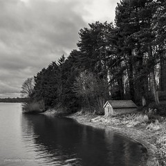 Swithland reservoir boat house (marc_leach) Tags: landscape lake clouds swithland leicestershire dawn uk mono nikon d200 reservoir blackandwhite boathouse