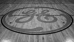 """GE Club"" (D A Baker) Tags: general electric ge broadway campus club factory repurpose rehabilitate announce fort ft wayne indiana logo gymnasium basketball court wood plank"